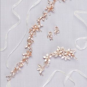 Rose Gold bridal belt with hair piece & earrings